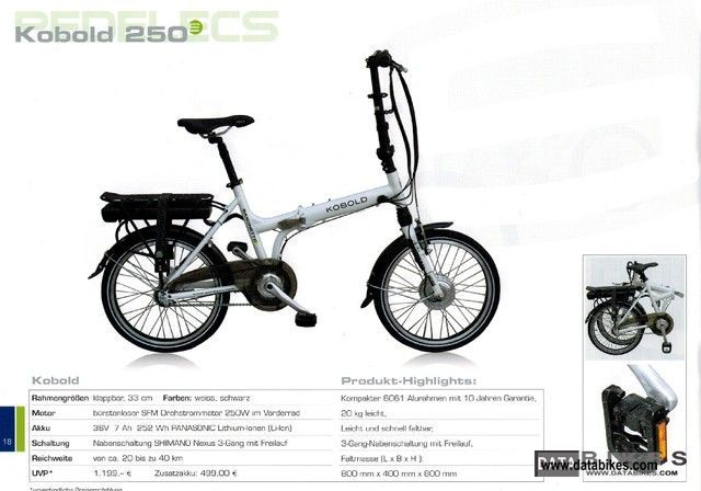 Sachs  Saxonette electric folding bike Kobold 250 2012 Electric Motorcycles photo